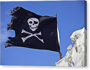 Black Pirate Flag  Canvas Print by Garry Gay