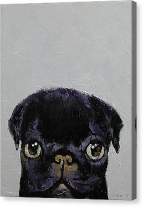 Black Pug Canvas Print by Michael Creese