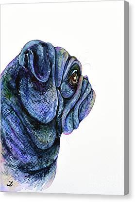 Canvas Print featuring the painting Black Pug by Zaira Dzhaubaeva