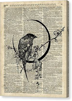 Black Raven Bird Canvas Print
