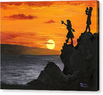 Canvas Print featuring the painting Black Rock Maui by Darice Machel McGuire