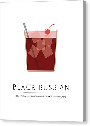 Black Russian Classic Cocktail - Minimalist Print Canvas Print