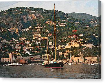 Black Sailboat At Villefranche II Canvas Print