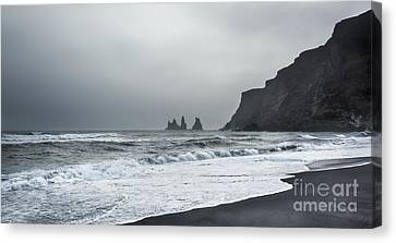 Black Sand Beach Canvas Print by Svetlana Sewell