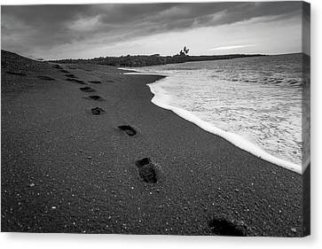 Black Sand Footprints Canvas Print