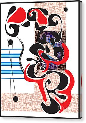 Canvas Print featuring the digital art Black Shapes With Red by Christine Perry