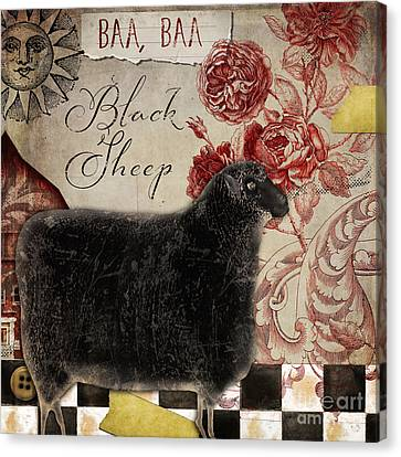 Black Sheep Nursery Rhyme Mother Goose Canvas Print by Mindy Sommers