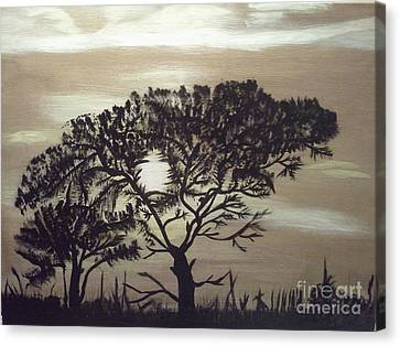 Black Silhouette Tree Canvas Print