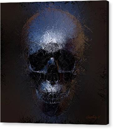 Canvas Print featuring the digital art Black Skull by Vitaliy Gladkiy