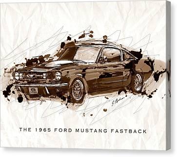 Black Stallion 1965 Ford Mustang Fastback #2 Canvas Print by Gary Bodnar