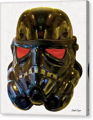 Round Canvas Print - Black Stormtrooper - Pa by Leonardo Digenio