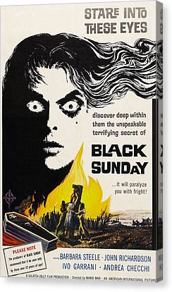 Horror Fantasy Movies Canvas Print - Black Sunday, Barbara Steele, One-sheet by Everett