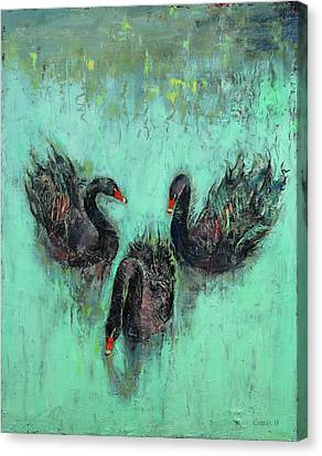 Black Swans Canvas Print by Michael Creese