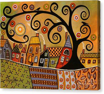 Naive Canvas Print - Black Swirl Tree Landscape 1 by Karla Gerard