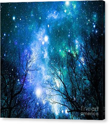 Nebula Canvas Print - Black Trees Blue Space by Johari Smith