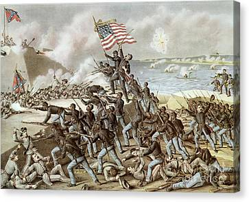 Black Troops Of The Fifty Fourth Massachusetts Regiment During The Assault Of Fort Wagner Canvas Print by American School