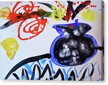 Black Vase Of Wild Flowers Canvas Print