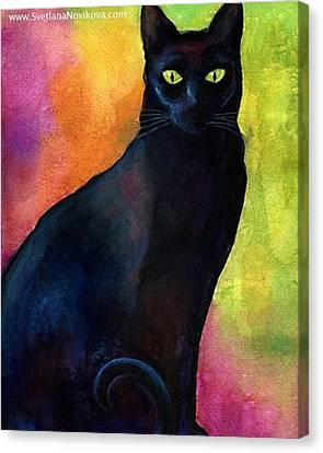 Portraits Canvas Print - Black Watercolor Cat Painting By by Svetlana Novikova