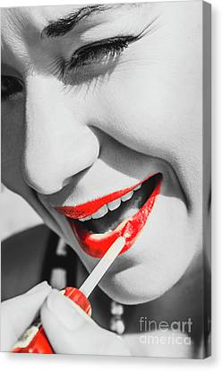 Black White And Red Lipgloss Pinup Canvas Print by Jorgo Photography - Wall Art Gallery