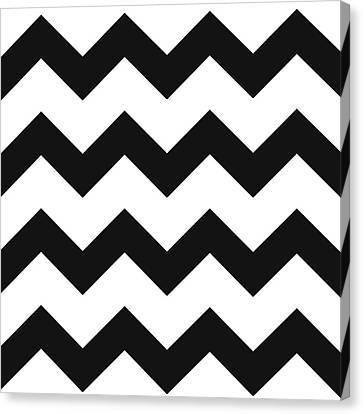 Canvas Print featuring the mixed media Black White Geometric Pattern by Christina Rollo