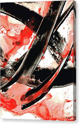 Energy Art Movement Canvas Print - Black White Red Art - Tango - Sharon Cummings by Sharon Cummings