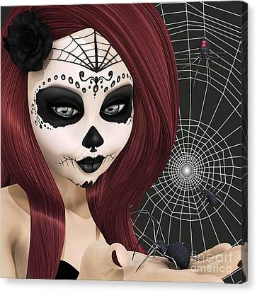Black Widow Sugar Doll Canvas Print by Methune Hively
