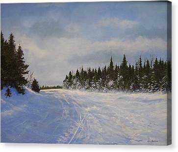 Canvas Print featuring the painting Blackbear Ski Trail by Ken Ahlering
