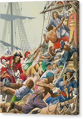 Blackbeard And His Pirates Attack Canvas Print by Peter Jackson