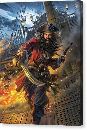Pirate Ship Canvas Print - Blackbeard by Mark Fredrickson