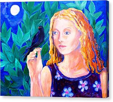 Blackbird Singing In The Dead Of Night  Canvas Print by Trudi Doyle
