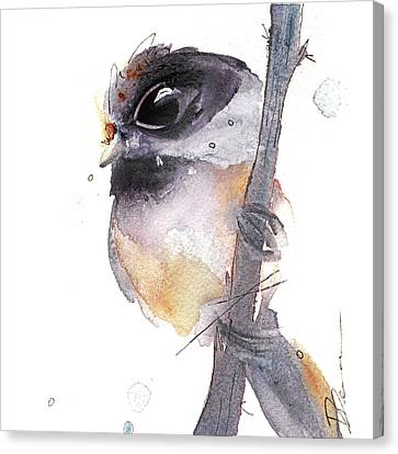 Canvas Print featuring the painting Blackcapped Chickadee by Dawn Derman