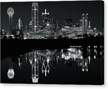 Dallas Canvas Print - Blackest Night In Big D by Frozen in Time Fine Art Photography