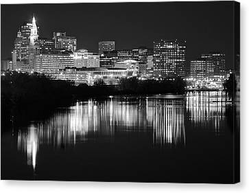 Blackest Night In Hartford Canvas Print by Frozen in Time Fine Art Photography