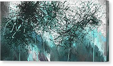 Blackish Blues -turquoise And Gray Modern Artwork Canvas Print by Lourry Legarde