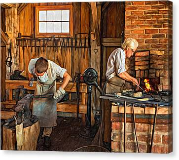 Pioneer Museum Canvas Print - Blacksmith And Apprentice 3 - Paint by Steve Harrington
