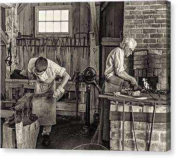 Pioneer Museum Canvas Print - Blacksmith And Apprentice 3 - Sepia by Steve Harrington