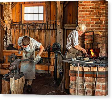 Pioneer Museum Canvas Print - Blacksmith And Apprentice 3 by Steve Harrington