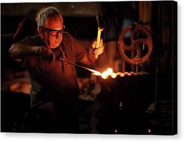 Blacksmith Canvas Print - Blacksmith Hammering Red Hot Iron by Johan Swanepoel