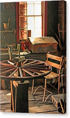 Blacksmith Shop Wheel Repair At Old World Wisconsin Canvas Print