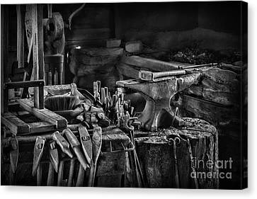 Blacksmith-this Is My Anvil Black And White Canvas Print