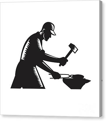 Linocut Canvas Print - Blacksmith Worker Forging Iron Black And White Woodcut by Aloysius Patrimonio