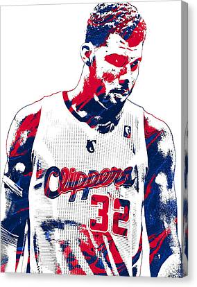 Los Angeles Clippers Canvas Print - Blake Griffin Los Angeles Clippers Pixel Art 2 by Joe Hamilton