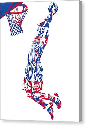 Los Angeles Clippers Canvas Print - Blake Griffin Los Angeles Clippers Pixel Art 31 by Joe Hamilton