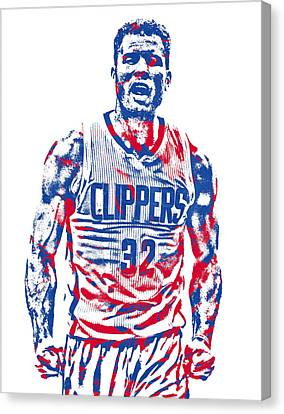 Los Angeles Clippers Canvas Print - Blake Griffin Los Angeles Clippers Pixel Art 34 by Joe Hamilton