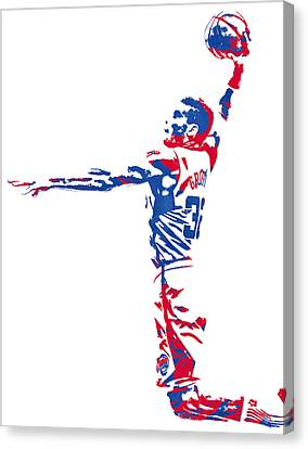 Los Angeles Clippers Canvas Print - Blake Griffin Los Angeles Clippers Pixel Art 5 by Joe Hamilton