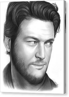 Blake Shelton Canvas Print by Greg Joens