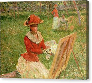 Artist At Easel Canvas Print - Blanche Hoschede Painting by Claude Monet