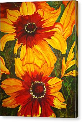 Canvas Print featuring the painting Blanket Flower by Lil Taylor