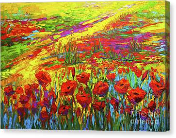 Blanket Of Joy Modern Impressionistic Oil Painting Of Poppy Flower Field Canvas Print