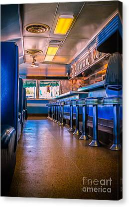 Old Diner Bar Stools Canvas Print - Blast From The Past by Claudia M Photography